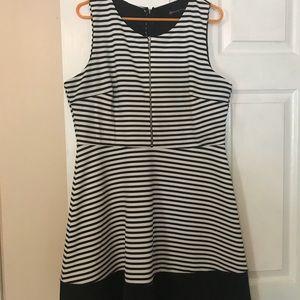 Striped dress with zipper detail.